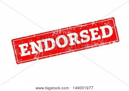 ENDORSED written on red rubber stamp with grunge edges.