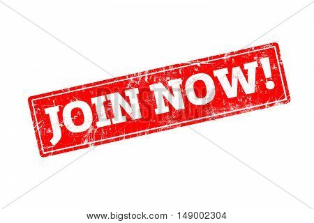 JOIN NOW written on red rubber stamp with grunge edges.