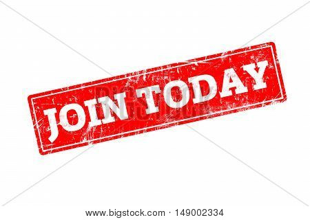 JOIN TODAY written on red rubber stamp with grunge edges.