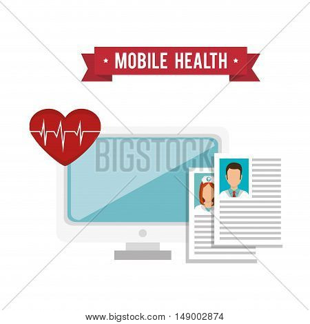 computer monitor and medical report pages and cardio pulse heart. mobile health design. colorful vector illustration
