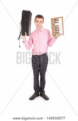 Smiling teenager holding a computer keyboard and abacus isolated on white background with soft shadow