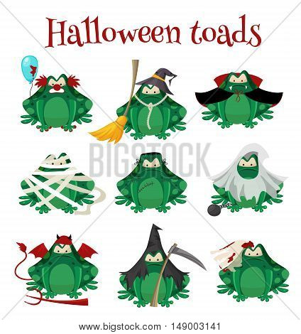 Halloween green toads fashion costume outfits. Dead bride , Salem witch , mummy, zombie and other traditional Halloween costumes frogs . Cartoon style vector illustration isolated on white background