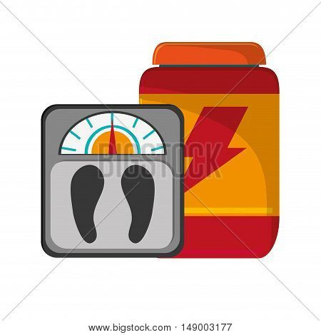 flat design protein powder supplement and  weight scale  icon vector illustration