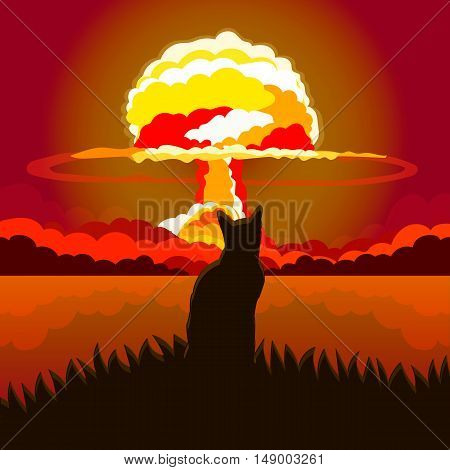 Vector illustration of a cat sitting on a background of a nuclear explosion.