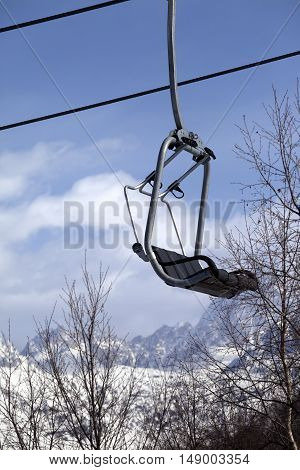 Ski Lift In Snow Mountains At Nice Winter Day