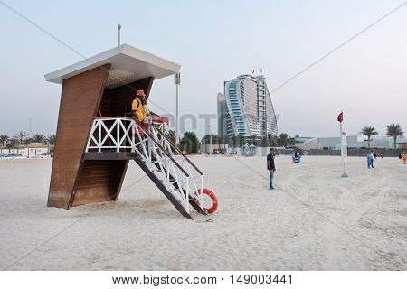 Dubai UAE - september 03 2016: Lifeguard patrol tower at the beach near Jumeirah Beach Hotel in Dubai.