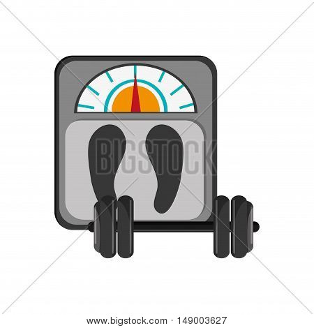 flat design weight scale and dumbbell  icon vector illustration