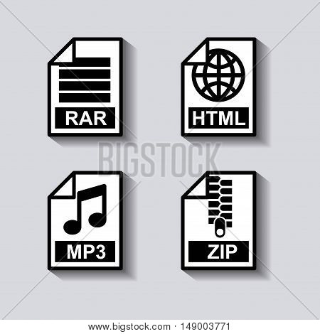 set documents format icon vector illustration design