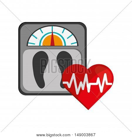 flat design weight scale and heart cardiogram icon vector illustration