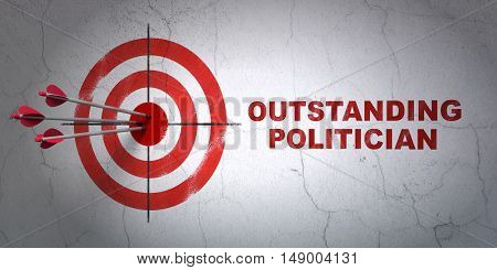 Success political concept: arrows hitting the center of target, Red Outstanding Politician on wall background, 3D rendering