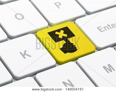 Political concept: computer keyboard with Protest icon on enter button background, selected focus, 3D rendering