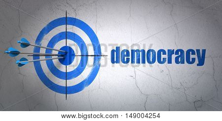 Success political concept: arrows hitting the center of target, Blue Democracy on wall background, 3D rendering