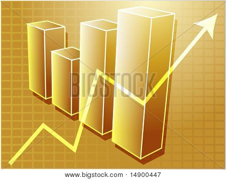 Three-d bar chart and upwards line graph financial diagram illustration over square grid