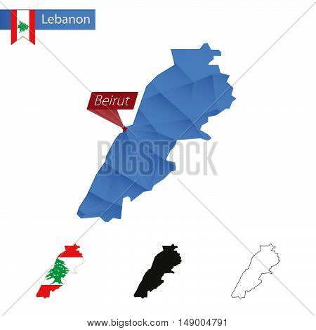 Lebanon Blue Low Poly Map With Capital Beirut.