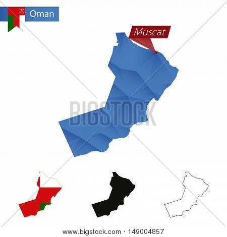 Oman Blue Low Poly Map With Capital Muscat.