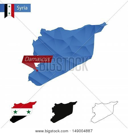 Syria Blue Low Poly Map With Capital Damascus.
