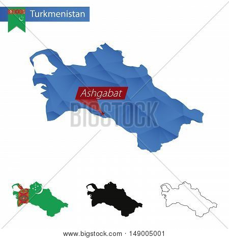 Turkmenistan Blue Low Poly Map With Capital Ashgabat.