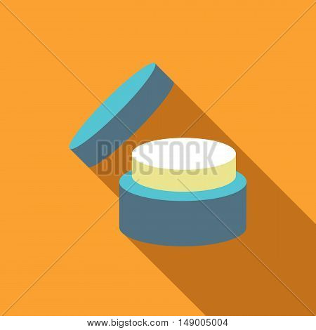 Cosmetic face cream jar icon in flat style isolated with long shadow vector illustration