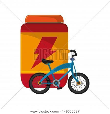 flat design protein powder supplement and bike  icon vector illustration