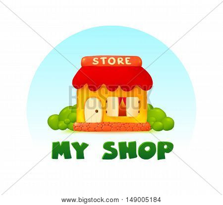 Tiny little shop vector image in cartoon style with sign My Shop