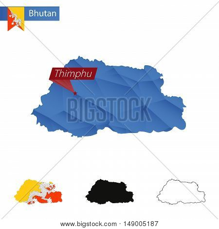 Bhutan Blue Low Poly Map With Capital Thimphu.