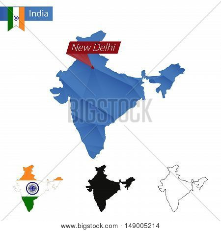 India Blue Low Poly Map With Capital New Delhi.
