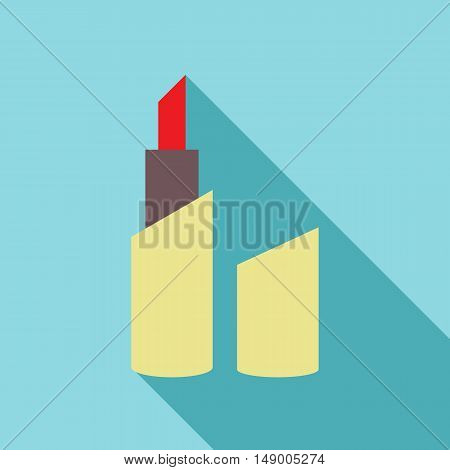 Red lipstick pomade icon in flat style isolated with long shadow vector illustration