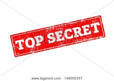 TOP SECRET word written on red rubber stamp with grunge edges.