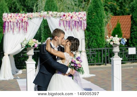 Beautiful Bride And Groom Kiss
