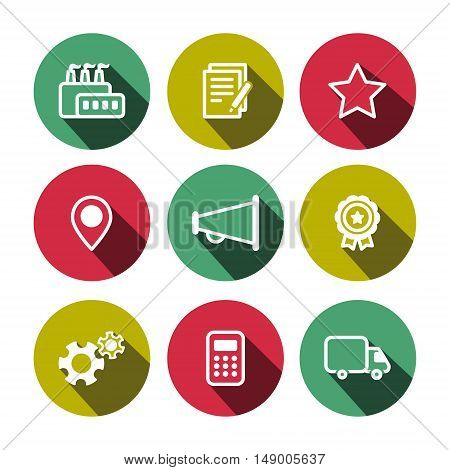 Flat vector business and construction multicolor (yellow-green green crimson) icons set