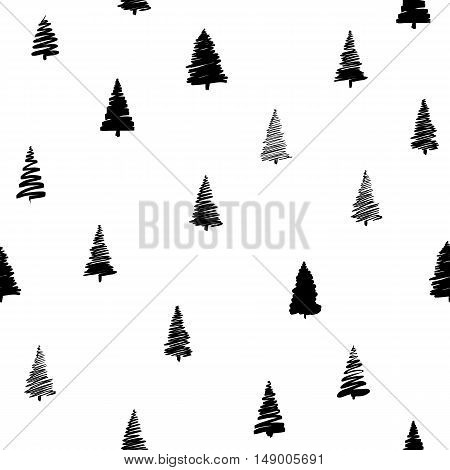 Vector illustration of doodle fir-tree seamless background in modern style. Sketch xmas tree and round sphere for new year, christmas design. Hand drawn spruce tree seamless pattern
