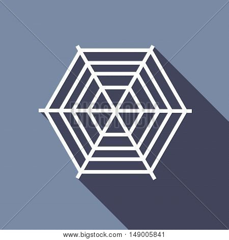 Spiderweb icon in flat style isolated with long shadow vector illustration