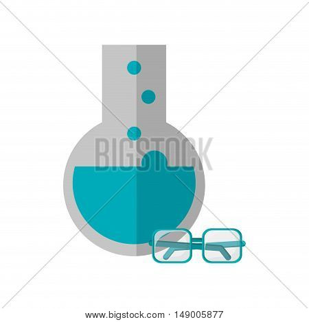 flat design round bottom chemistry flask and glasses  icon vector illustration