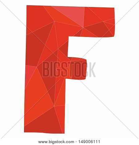 F red alphabet wrapping surface vector letter isolated on white background