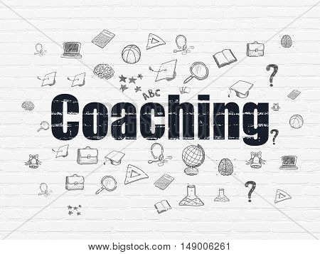 Learning concept: Painted black text Coaching on White Brick wall background with  Hand Drawn Education Icons