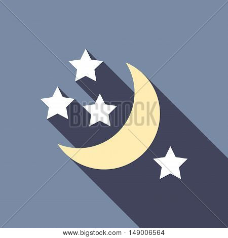 Half moon and stars icon in flat style isolated with long shadow vector illustration