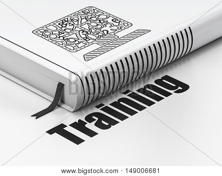 Learning concept: closed book with Black Computer Pc icon and text Training on floor, white background, 3D rendering