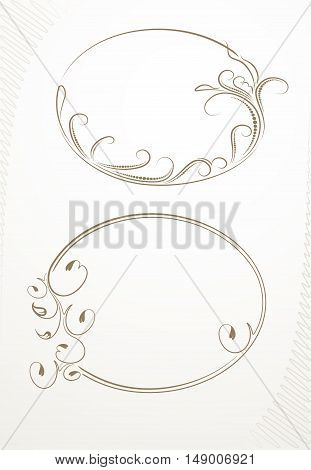 Pair Of Decorative Floral Oval Vector Frame.