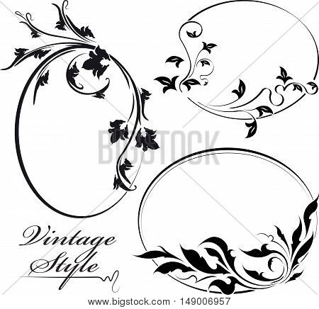Set Of Three Decorative Floral Oval Vector Frame.