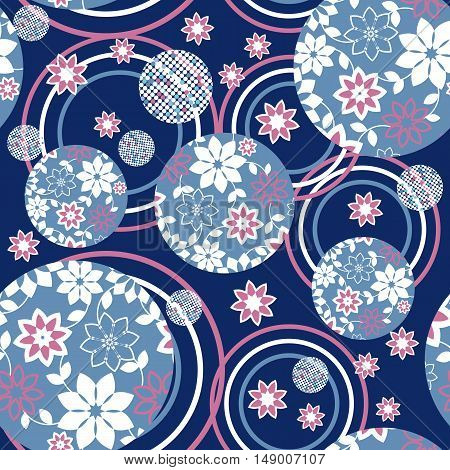 Blue Romantic Vector Floral Pattern. Abstract seamless floral ornament-vector illustration. a romantic ornament colors.