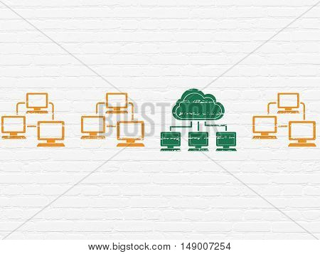 Cloud networking concept: row of Painted orange lan computer network icons around green cloud network icon on White Brick wall background