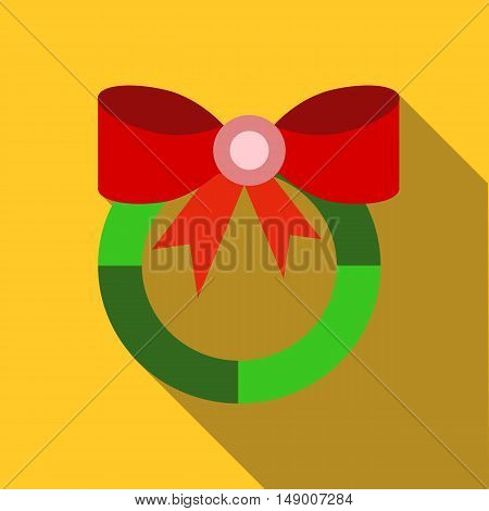 Christmas wreath with red bow icon in flat style isolated with long shadow vector illustration