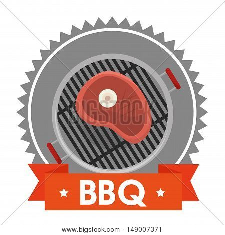 barbecue steakhouse with piece of meat grilled. colorful design. vector illustration