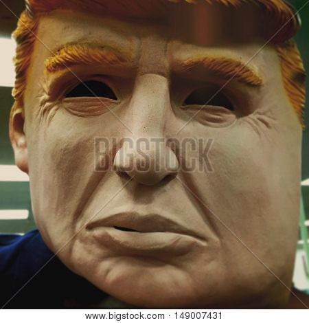 Latex Halloween mask of Donald Trump as seen in stores before the 2016 U.S. Presidential Elections.