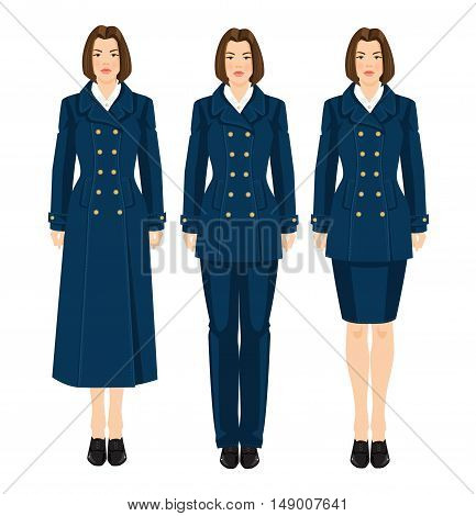 Vector illustration of professional girls in naval formal clothes isolated on white background.