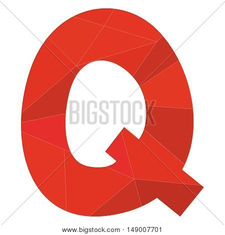 Q red alphabet wrapping surface vector letter isolated on white background