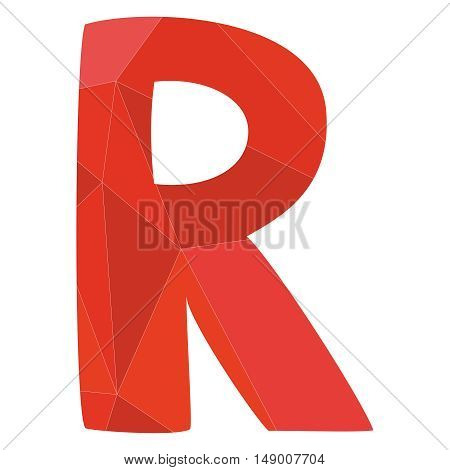 R red alphabet wrapping surface vector letter isolated on white background