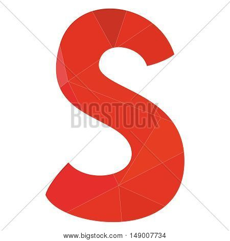 S red alphabet wrapping surface vector letter isolated on white background