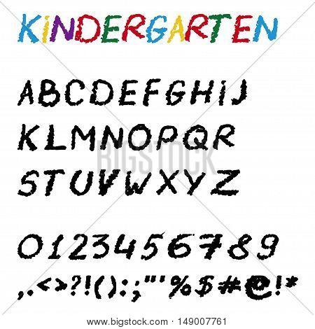 Vector chalk font for school and kindergarten