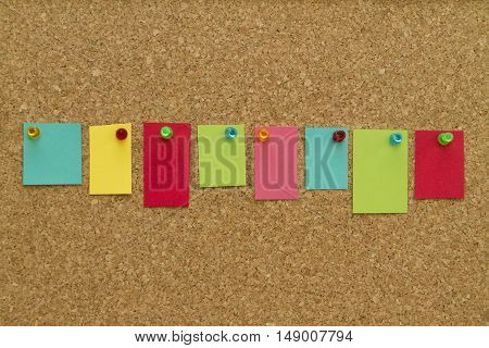 Blank Sticky Notes pinned on corkboard. Write your message.